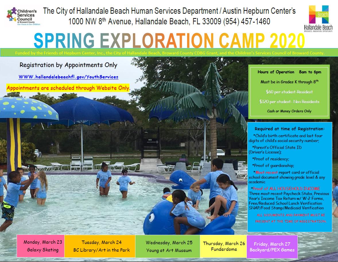 Spring Break Camp Registration Informational Flyer