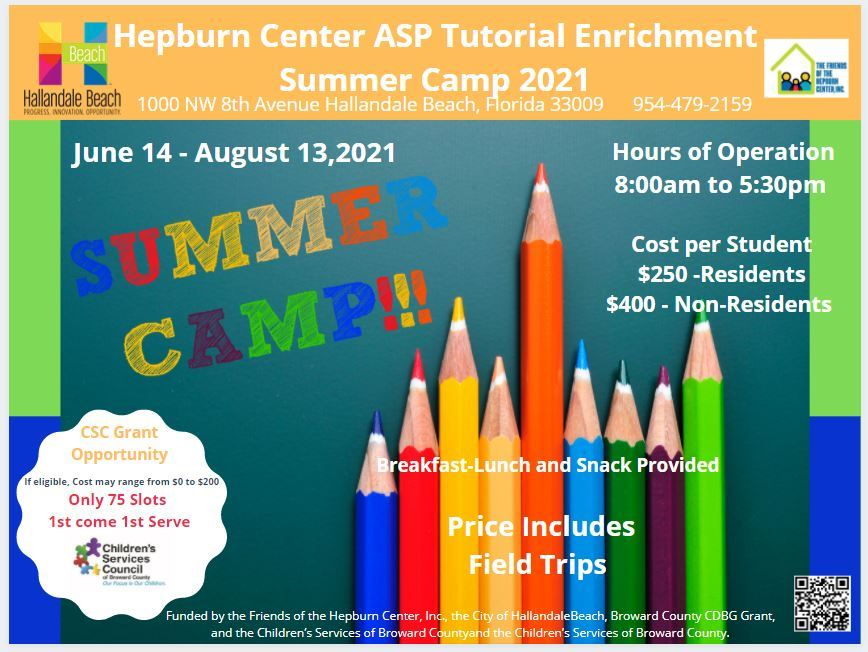 Summer Camp Flyer with color pencils and registration information